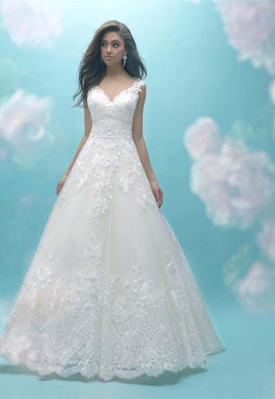 Sweetheart Neck Lace Sleeveless Ball Gown Wedding Dress by Allure Bridals