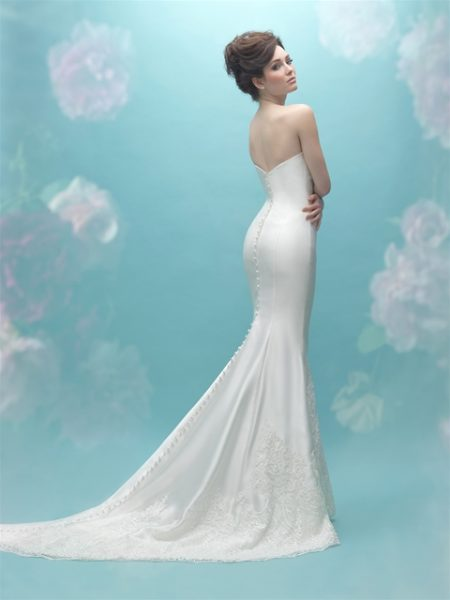 Sweetheart Neck Simple Silk Sheath Wedding Dress by Allure Bridals - Image 2
