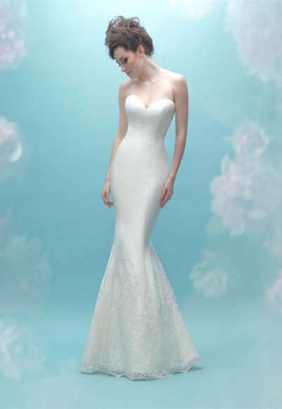 Sweetheart Neck Simple Silk Sheath Wedding Dress by Allure Bridals