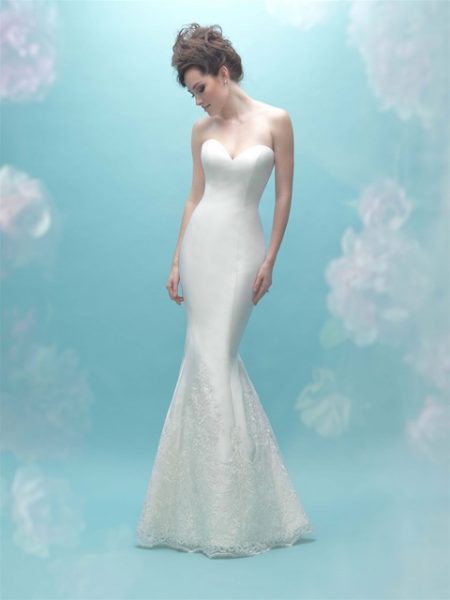 Sweetheart Neck Simple Silk Sheath Wedding Dress by Allure Bridals - Image 1
