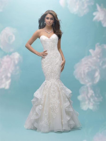 Sweetheart Ruffled Bottom Mermaid Wedding Dress by Allure Bridals - Image 1