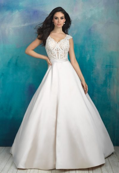 V-neck Beaded Lace Bodice Silk Skirt Ball Gown Wedding Dress by Allure Bridals