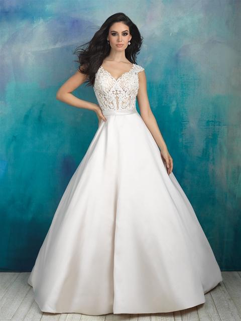 V-neck Beaded Lace Bodice Silk Skirt Ball Gown Wedding Dress ...