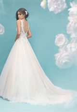 V-neck Lace Bodice Tulle Ball Gown Wedding Dress by Allure Bridals - Image 2
