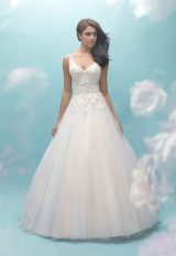 V-neck Lace Bodice Tulle Ball Gown Wedding Dress by Allure Bridals - Image 1