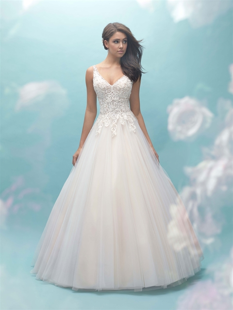 V-neck Lace Bodice Tulle Ball Gown Wedding Dress | Kleinfeld Bridal