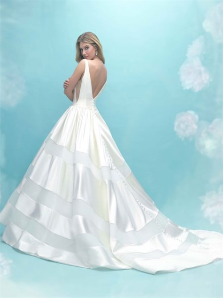 V-neck Sleeveless Satin Ball Gown Wedding Dress by Allure Bridals - Image 2