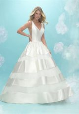 V-neck Sleeveless Satin Ball Gown Wedding Dress by Allure Bridals - Image 1