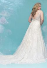 V-neck Spaghetti Strap Beaded Lace Detailed A-line Wedding Dress by Allure Bridals - Image 2