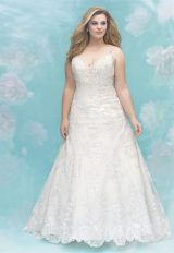 V-neck Spaghetti Strap Beaded Lace Detailed A-line Wedding Dress by Allure Bridals - Image 1