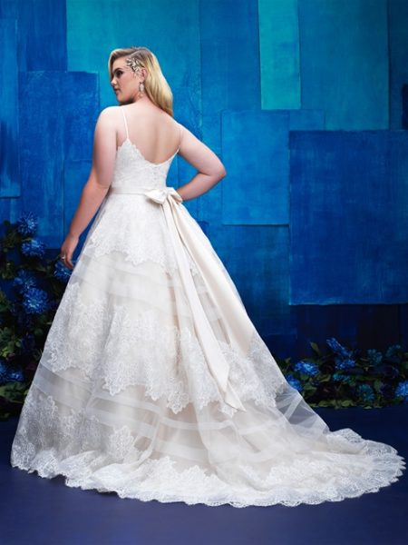 V-neck Spaghetti Strap Lace Detailed Ball Gown Wedding Dress by Allure Bridals - Image 2