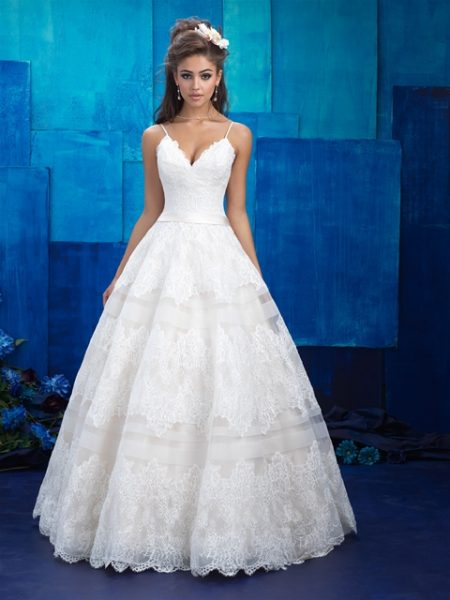 V-neck Spaghetti Strap Lace Detailed Ball Gown Wedding Dress by Allure Bridals - Image 1