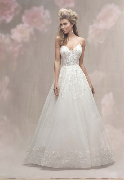 V-neck Spaghetti Strap Lace Detailed Ball Gown Wedding Dress by Allure Bridals