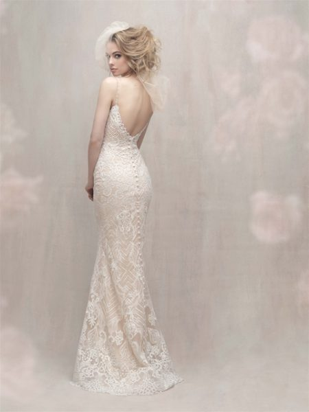 V-neck Spaghetti Strap Lace Detailed Fit And Flare Wedding Dress by Allure Bridals - Image 2