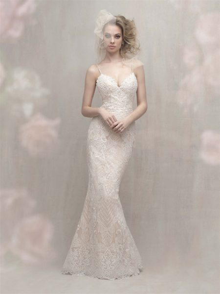 Spaghetti Strap Fit and Flare Wedding Dress