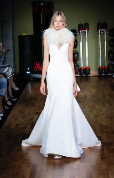Fit And Flare Wedding Dress With Drape Wrapping Into Back Ties by Alyne by Rita Vinieris - Image 1