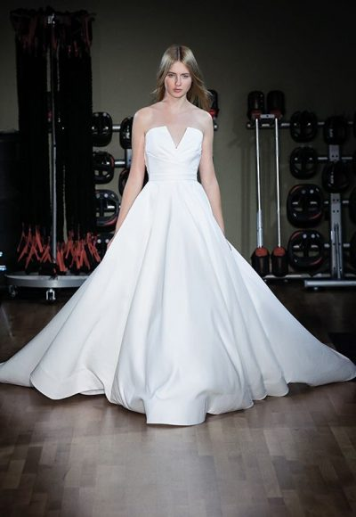 Satin Strapless Natural Waist Ball Gown Wedding Dress by Alyne by Rita Vinieris