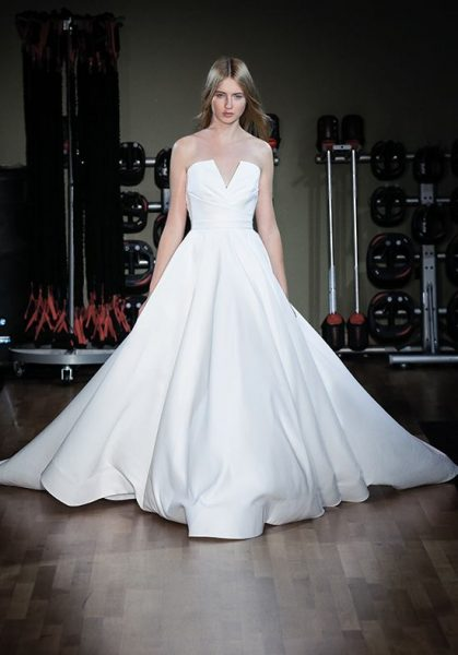 Satin Strapless Natural Waist Ball Gown Wedding Dress by Alyne by Rita Vinieris - Image 1