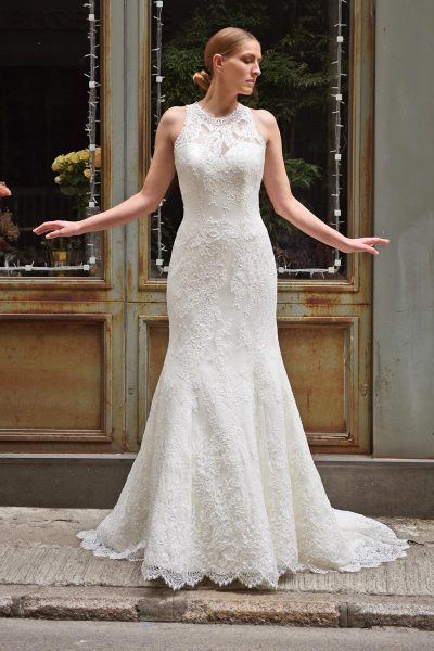 High Illusion Sweetheart Neck Lace Fit And Flare Wedding Dress - Image 1
