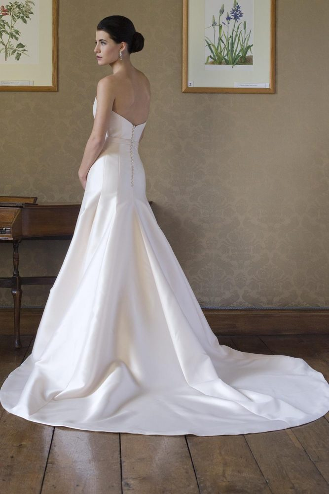 Simple Satin Sweetheart Neck Fit And Flare Wedding Dress - Image 2