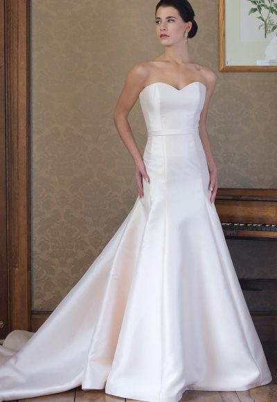 Simple Satin Sweetheart Neck Fit And Flare Wedding Dress by Augusta Jones