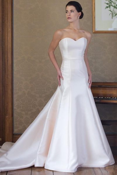 Simple Satin Sweetheart Neck Fit And Flare Wedding Dress - Image 1