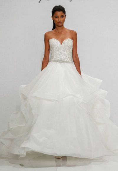 Beaded Bodice Sweetheart Neckline Ball Gown Wedding Dress by Dennis Basso
