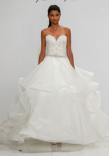 Beaded Bodice Sweetheart Neckline Ball Gown Wedding Dress by Dennis Basso - Image 1