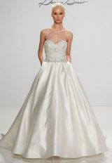 Beaded Bodice Sweetheart Neckline Satin Skirt A-line Wedding Dress by Dennis Basso - Image 1