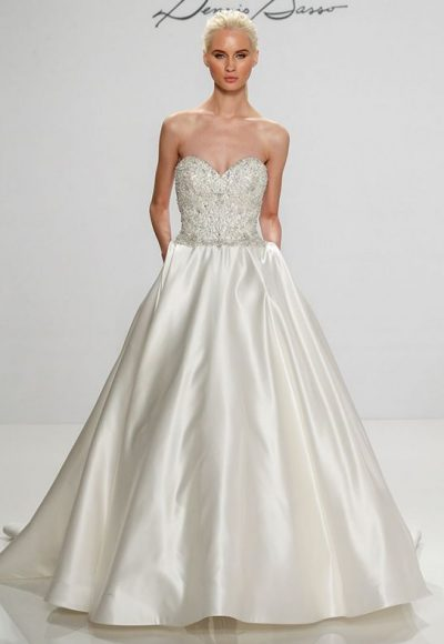 Beaded Bodice Sweetheart Neckline Satin Skirt A-line Wedding Dress by Dennis Basso