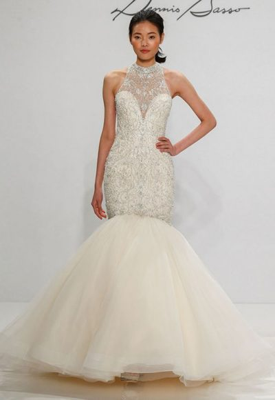 Beaded Halter Neckline Tulle Skirt Mermaid Wedding Dress by Dennis Basso