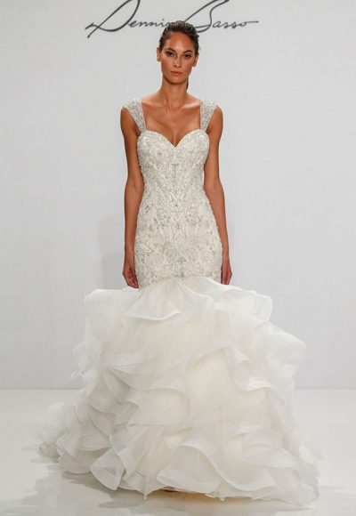 Sleeveless Sweetheart Neckline Beaded Bodice Fit And Flare Wedding Dress by Dennis Basso
