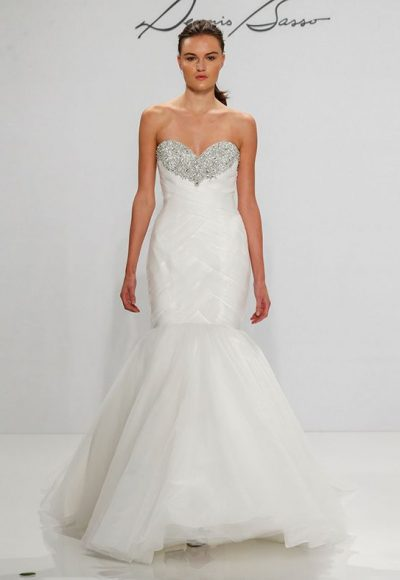 Sweetheart Beaded Neckline Mermaid Wedding Dress by Dennis Basso
