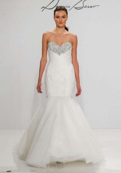 Sweetheart Beaded Neckline Mermaid Wedding Dress by Dennis Basso - Image 1