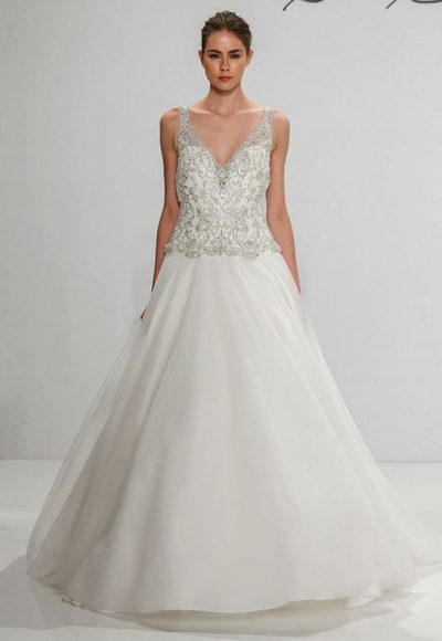V-neck Beaded Silk A-line Wedding Dress by Dennis Basso