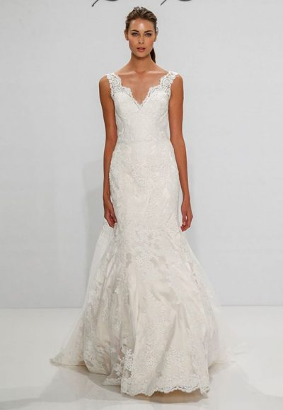 V-neck Scalloped Lace Fit And Flare Sleeveless Wedding Dress by Dennis Basso