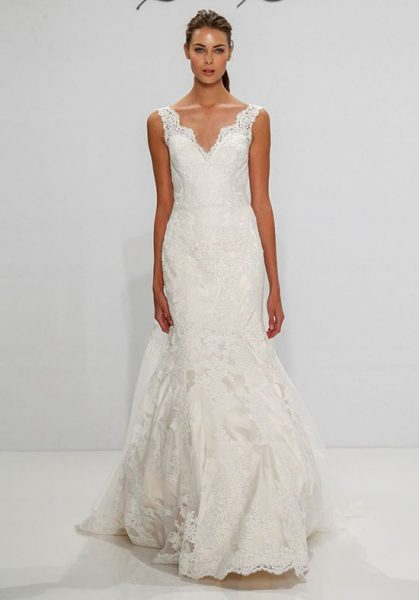 V-neck Scalloped Lace Fit And Flare Sleeveless Wedding Dress by Dennis Basso - Image 1
