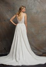 Beaded Bodice V-neck Sleeveless A-line Wedding Dress by Enaura Bridal - Image 2