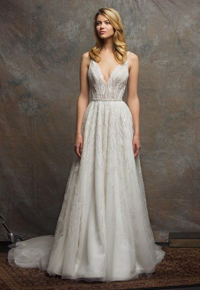 Beaded Bodice V-neck Sleeveless A-line Wedding Dress by Enaura Bridal