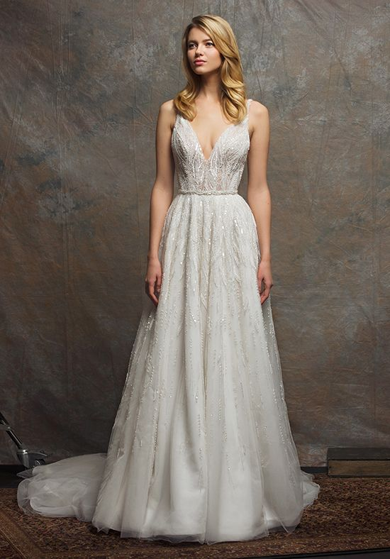 Beaded Bodice V-neck Sleeveless A-line Wedding Dress by Enaura Bridal - Image 1