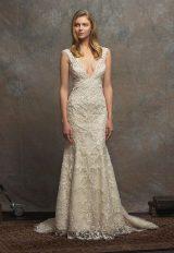 Beaded Lace V-neck Sleeveless A-line Wedding Dress by Enaura Bridal - Image 1