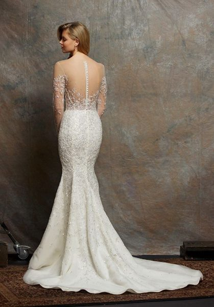 Illusion Sweetheart Long Sleeve Beaded Wedding Dress by Enaura Bridal - Image 2