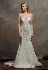 Illusion Sweetheart Long Sleeve Beaded Wedding Dress by Enaura Bridal - Image 1