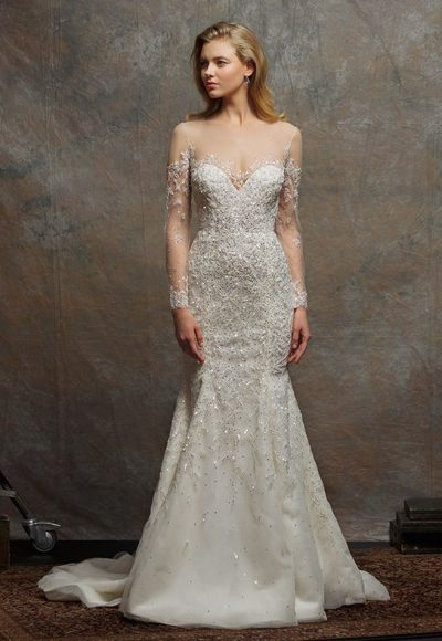 Illusion Sweetheart Long Sleeve Beaded Wedding Dress by Enaura Bridal