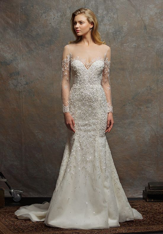 Illusion Sweetheart Long Sleeve Beaded Wedding Dress