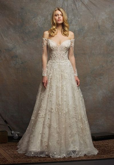 Off The Shoulder Sweetheart Neck Beaded A-line Wedding Dress by Enaura Bridal