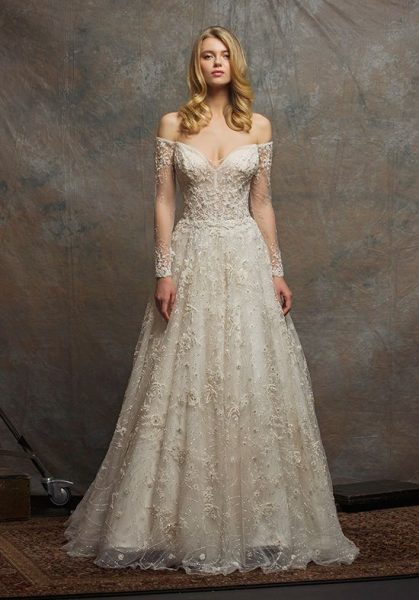 Off The Shoulder Sweetheart Neck Beaded A Line Wedding Dress By Enaura Bridal
