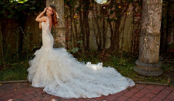 Beaded Lace Ruffled Skirt Fit And Flare With Sweetheart Neckline Wedding Dress by Eve of Milady - Image 2