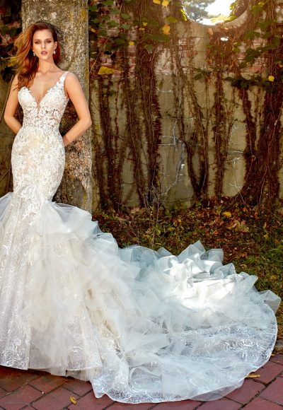 Beaded Lace Ruffled Skirt Fit And Flare With Sweetheart Neckline Wedding Dress by Eve of Milady