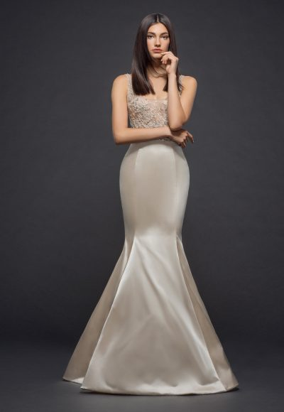 Beaded Sleeveless Scoop Neck Bodice Fit And Flare Wedding Dress by Lazaro